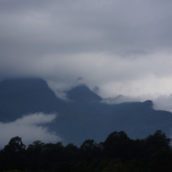 Our first glimpse through the fog of the mountain at Chiang Dao