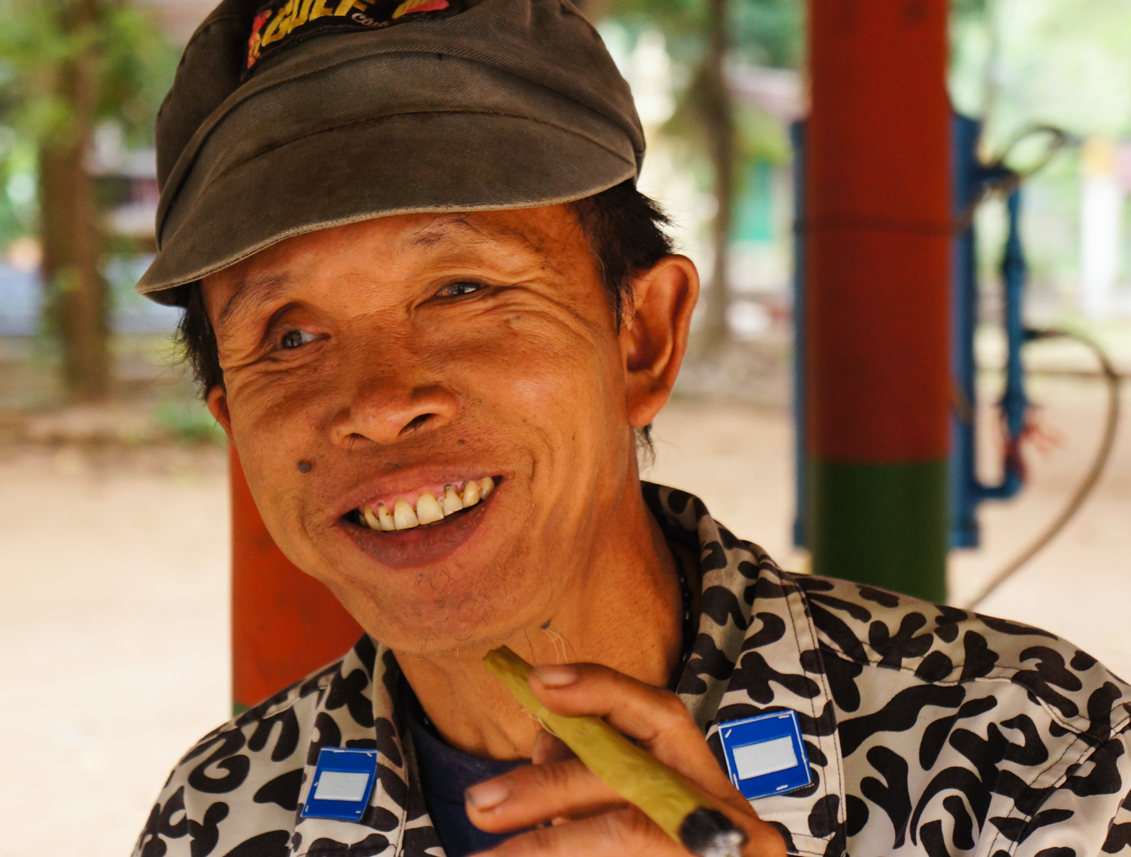 We asked for his portrait outside of the cave temple
