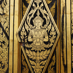 Beautiful design on the door to Wat Tham Pha Plong