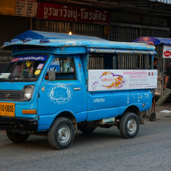 The songthaews (local taxis) in Chiang Rai were all blue instead of red like they are in Chiang Mai, and this one was so small!